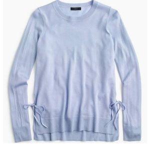 J. Crew side-slit sweater with ties light blue S